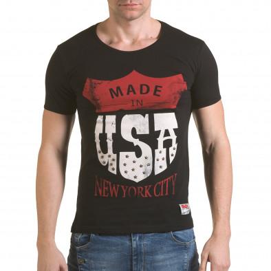 Мъжка черна тениска Made in USA il170216-82 2