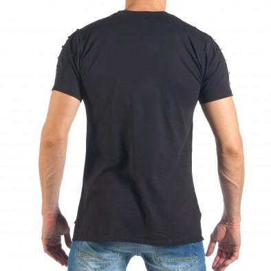 Мъжка черна тениска с апликация и капси it260318-186 4