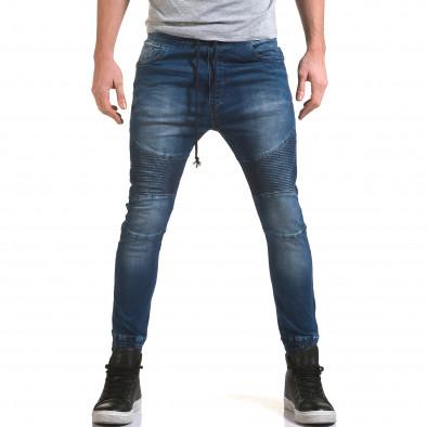 Мъжки дънки с кройка на потури с хоризонтални шевове it090216-19 2