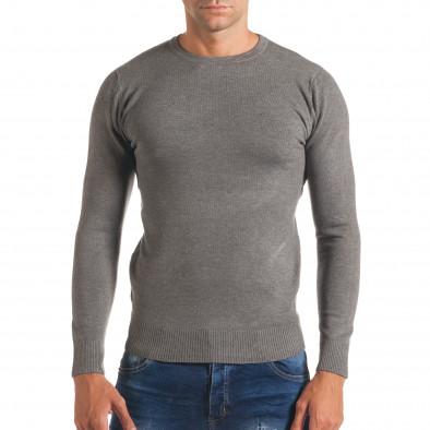 Мъжки светло сив изчистен пуловер с обло деколте it170816-43 2