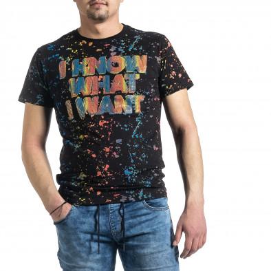 Мъжка черна тениска с принт и кристали gr270221-52 2