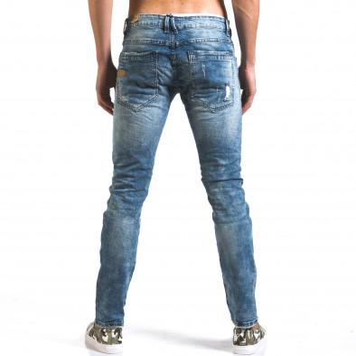 Мъжки светло сини дънки слим с големи скъсвания по плата Y-Two 5