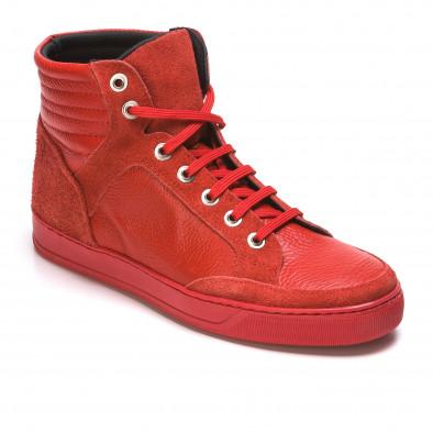 Мъжки червени високи кецове от естествена кожа It050216-4 3