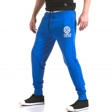 Мъжко синьо долнище с лого на единия крачол il170216-131 4