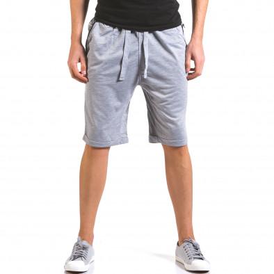 Мъжки сиви шорти с кожени детайли it160316-21 2