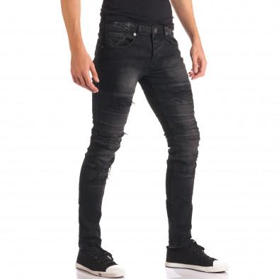 Мъжки черни дънки със скъсвания и допълнителни шевове it150816-35 4