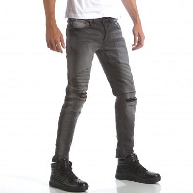 Мъжки сиви дънки със скъсвания на коленете it160817-9 4