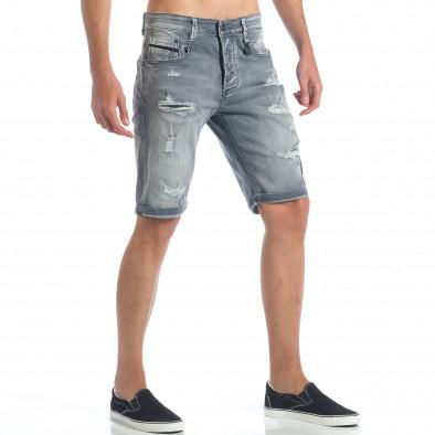 Мъжки сиви къси дънки с големи скъсвания it190417-61 4