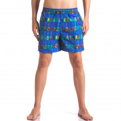 Мъжки сини бански с яки шарки it260416-44 2