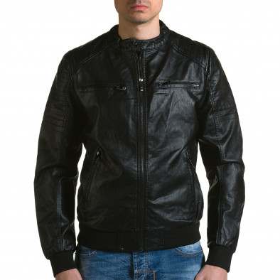 Мъжко черно кожено яке с джобове на гърдите ca190116-36 2