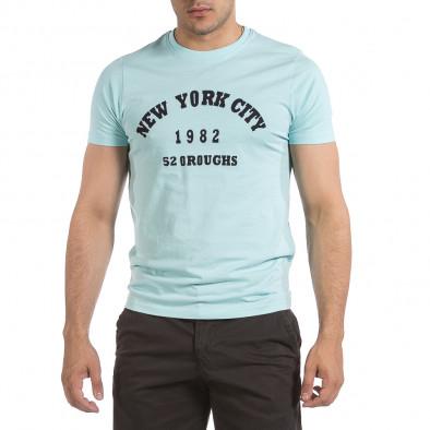 Мъжка тениска New York City цвят тюркоаз it040621-9 2