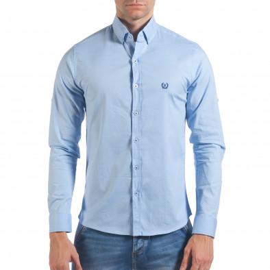 Мъжка синя риза с малки кръстчета il060616-118 2