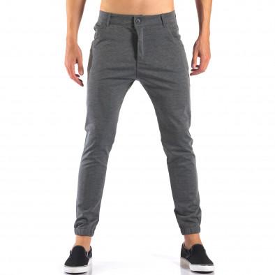 Мъжки светло сив панталон с еластични маншети на крачолите it160616-26 2