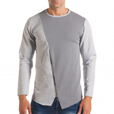 Мъжка сива блуза с декоративен цип it180816-6 2