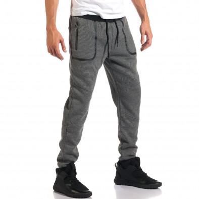 Мъжко светло сиво долнище с черен контур на джобвете it160916-35 4