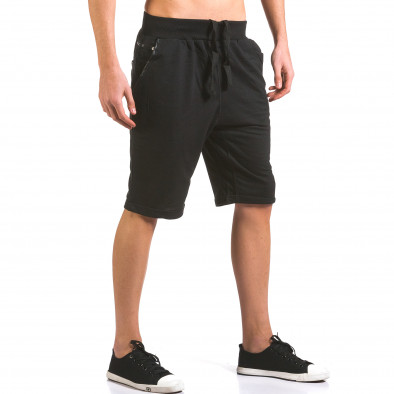 Мъжки черни шорти с кожени детайли it160316-22 4