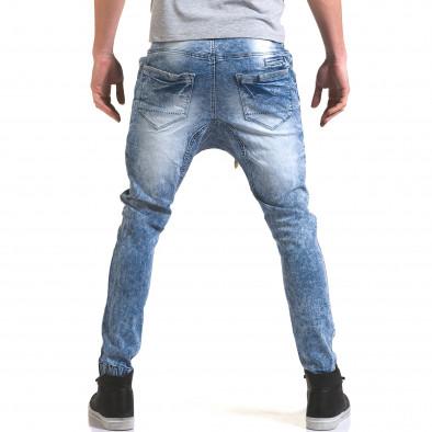 Мъжки светло сини дънки с кройка на долнище it090216-17 3