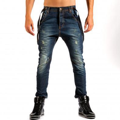 Мъжки тъмно сини дънки с уникално яки тиранти Tony Moro 4