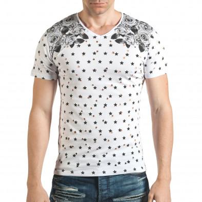 Мъжка бяла тениска с декоративни дупки и принт звезди и рози il140416-58 2