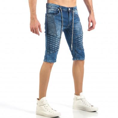 Мъжки къси Biker дънки в синьо it260318-114 4