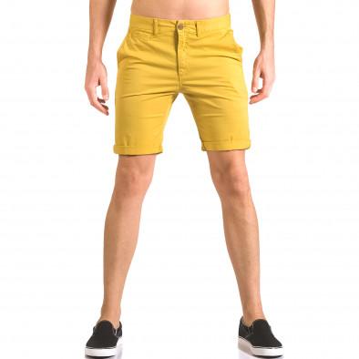 Мъжки жълти къси панталони с италиански джобове ca050416-59 2