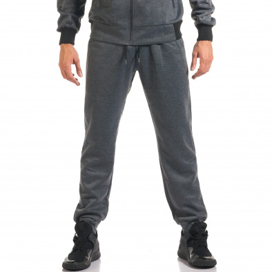 Мъжки тъмно сив спортен комплект с декоративен цип it160916-76 5
