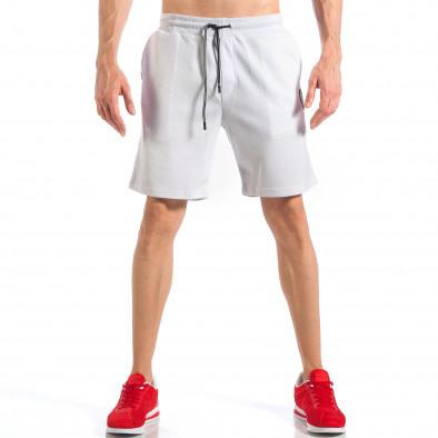 Мъжки бели шорти с апликация на крачола it110418-22 3