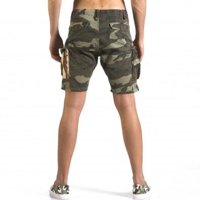 Мъжки къси панталони светло зелен камуфлаж it110316-56 3