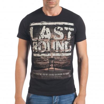 Мъжка черна тениска Last Round il060616-73 2