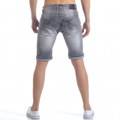 Мъжки сиви къси дънки с декоративни скъсвания it050617-32 3