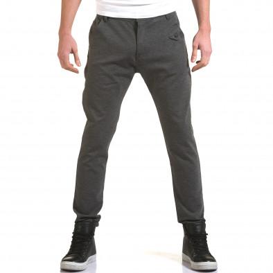 Мъжки светло сив панталон с малък детайл отпред it090216-1 2