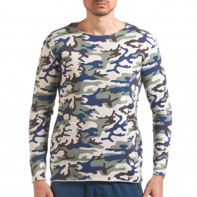 Мъжка блуза бежово-зелен камуфлаж it250416-73 2