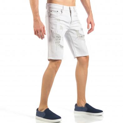 Мъжки бели къси дънки с фини кръпки it260318-121 4