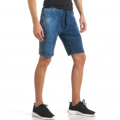 Мъжки сини шорти с ефект на дънки с допълнителни шевове it140317-109 4