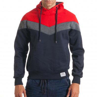 Мъжки син суичър със сива и червена част it240816-65 2
