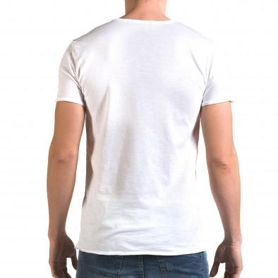 Мъжка бяла тениска изчистен модел it090216-79 3