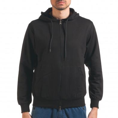 Черен мъжки суичър с цип отпред it250416-93 2