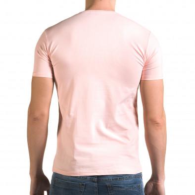 Мъжка розова тениска с номер 4 Lagos 4
