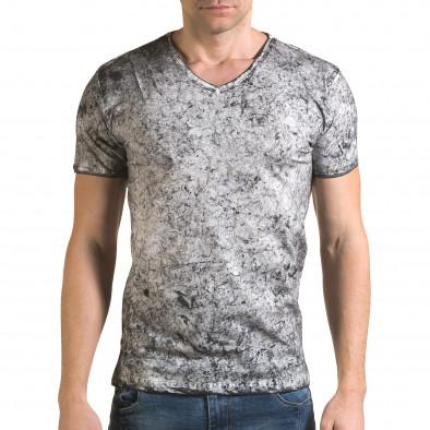 Мъжка сива тениска с избелял ефект il120216-17 2