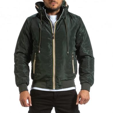 Мъжко зелено яке с прибираща се качулка it070921-28 2