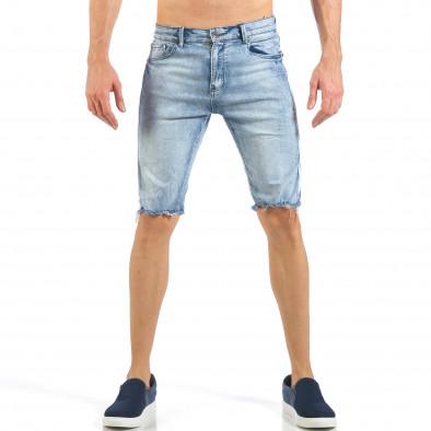 Мъжки къси дънки с бели кантове и избелял ефект it260318-113 2