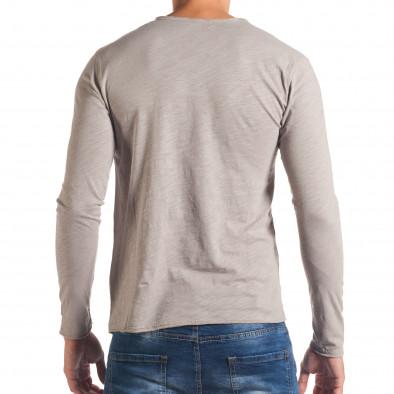 Мъжка сива блуза с остро деколте it180816-5 3