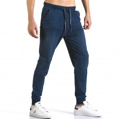 Мъжки сини потури с ефект на дънки със сини връзки it090216-58 4