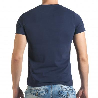 Мъжка синя тениска с номер 3 и щампа Just Relax 4