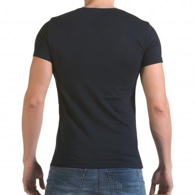 Мъжка синя тениска с принт крила и Италианското знаме Click Bomb 4