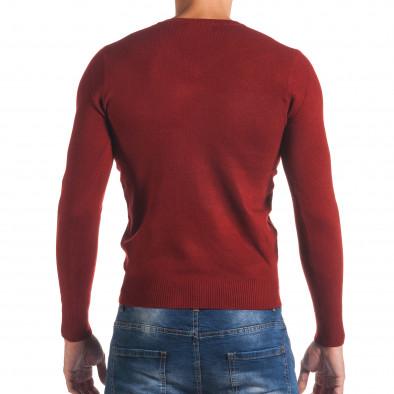 Мъжки червен изчистен пуловер с остро деколте it170816-49 3