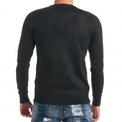 Мъжки черен пуловер на светло сиви райета it170816-15 3
