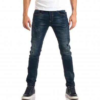 Мъжки дънки с черни и бели пръски боя it160916-17 2