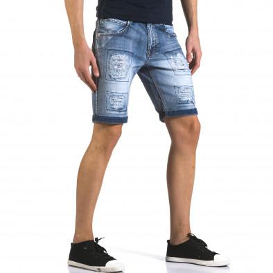 Мъжки къси дънки със скъсвания и кръпки it110316-71 4