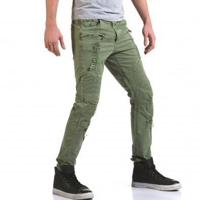 Мъжки зелен панталон с хоризонтални шевове it090216-7 4
